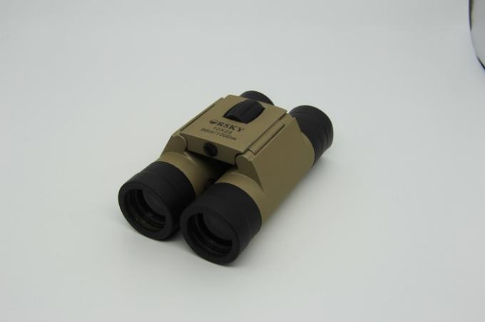 Portable Champagne Roof Prism Binoculars 10x25 Dual Focus Better Viewing For Concert
