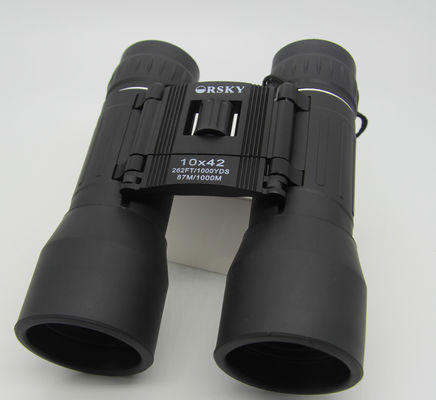 China 10x42 Folding Compact Roof Prism Binoculars 10.89mm Eye Relief Black Color supplier