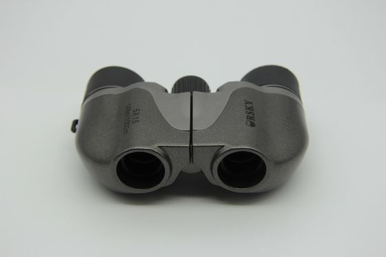 Folding Small Porro Kids Toy Binoculars Grey Convenient Easy Carrying With Strap