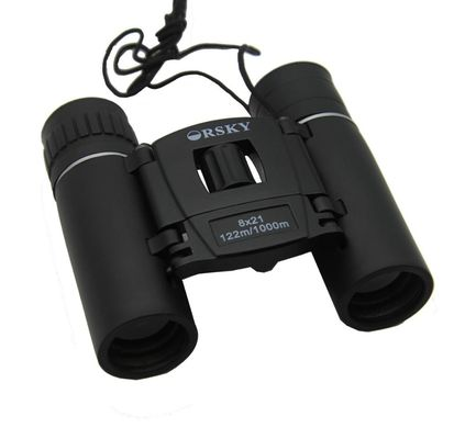 Long Range BK7 8x21 DCF Compact Hiking Binoculars For Watching Nature Black Color